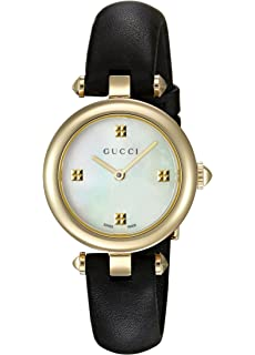 Gucci Swiss Quartz Gold-Tone and Leather Dress Black Womens Watch(Model: YA141505