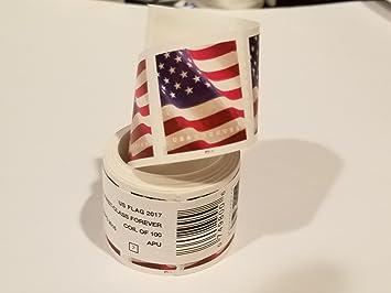 USPS Forever Stamps rollo de 100 sellos con diseño de bandera (el diseño puede variar): Amazon.es: Oficina y papelería