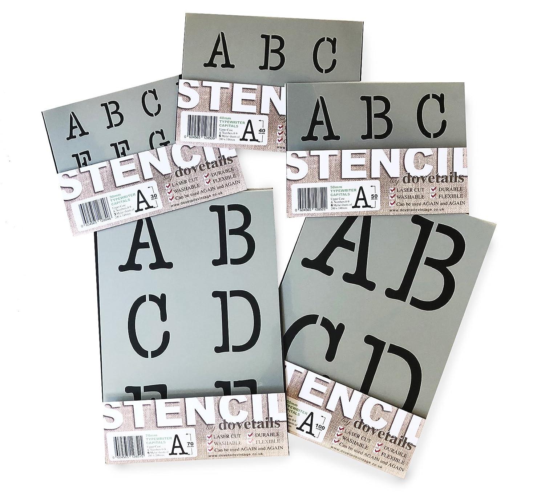 Alphabet y N/úmeros 0-9 en 9 hojas de 295 x 290mm Plantillas del Alfabeto Typewriter May/úsculas 10 cm de altura