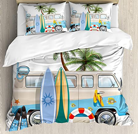 Ensemble De Housse De Couette Surf King Size Concept De Week End Surf Avec Diving Elements Fins Snorkeling Et Van Trip Relax Peace Set De Literie 3 Pieces Avec 2 Taies D Oreiller Multicolore