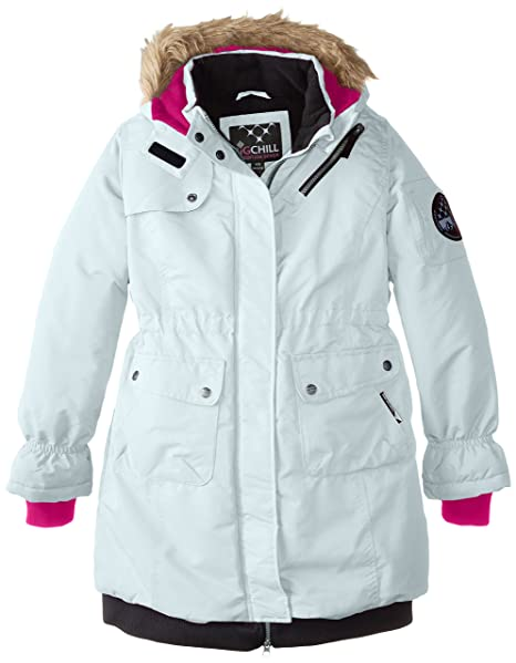 Big Chill Big Girls' Long Expedition Jacket, White, 10/12
