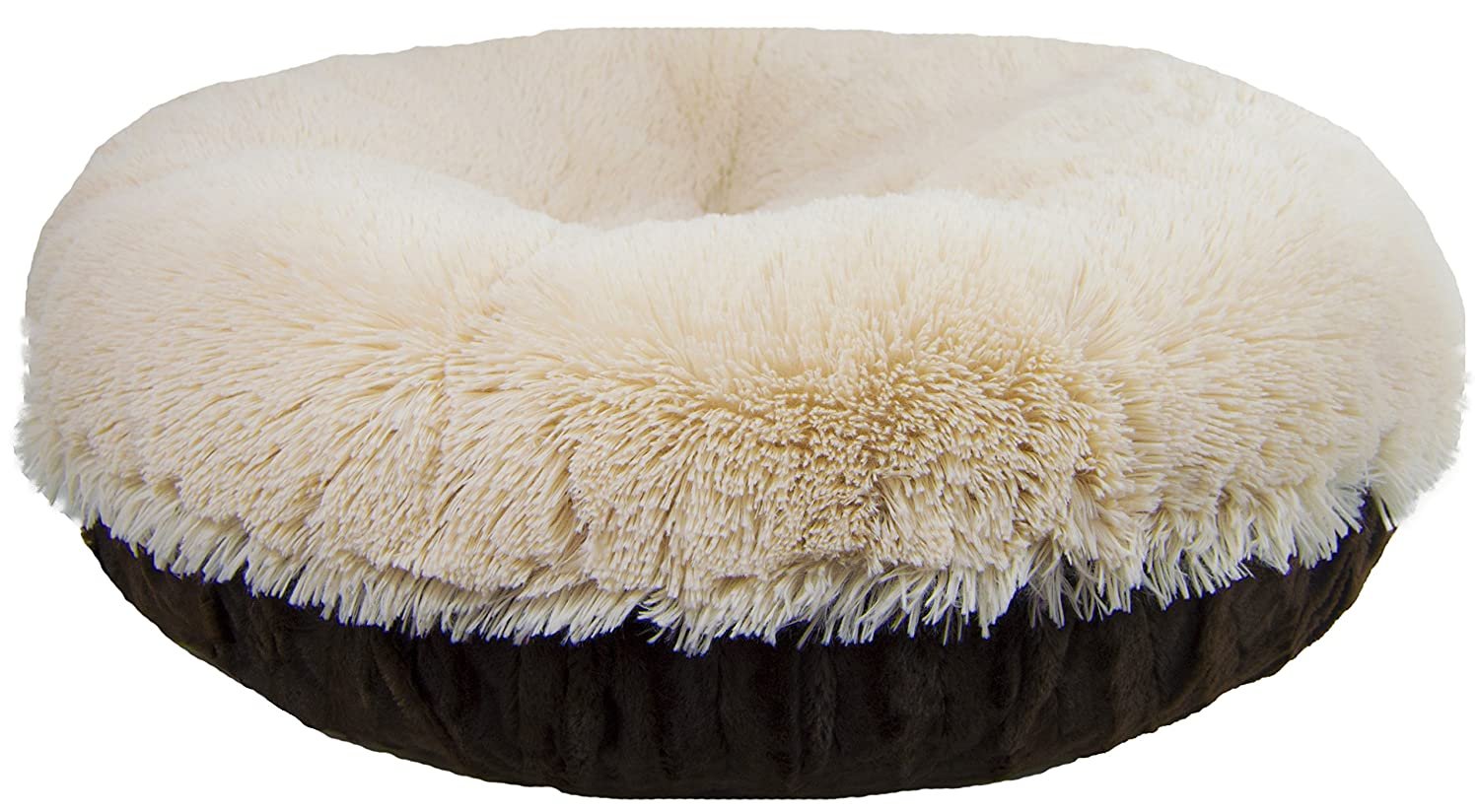 S-  30\ BESSIE AND BARNIE Signature Godiva Brown Blondie Luxury Shag Extra Plush Faux Fur Bagel Pet Dog Bed (Multiple Sizes)