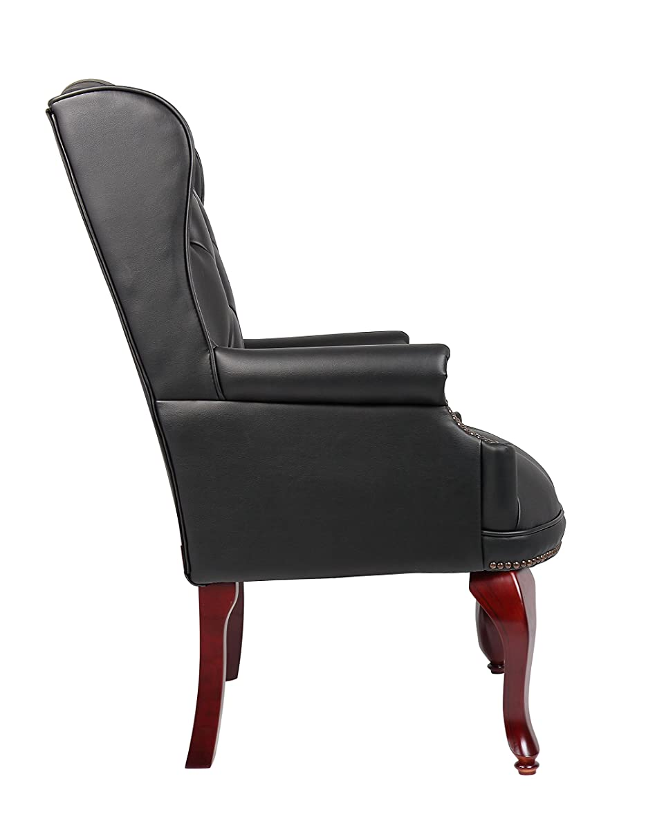 Boss Office Products B809-BK Wingback Traditional Guest Chair in Black