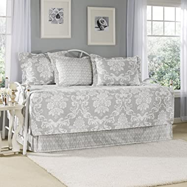 Laura Ashley Venetia 5-Piece Daybed Cover Set, Gray,