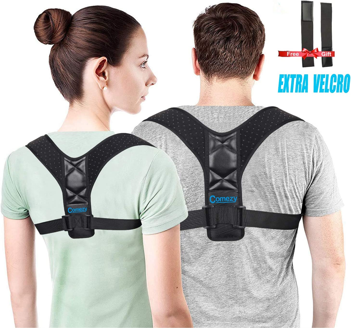 Comezy Back Posture Corrector for Women & Men - Powerful Magic Stickers Adjustable Clavicle Back Brace - Providing Pain Relief From Neck, Back and Shoulder( Universal )