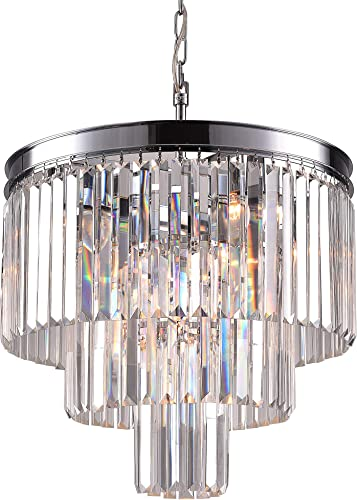 Zgear Luxury Modern Contemporary Crystal Chandelier Ceiling Light Pendant Light for Dining Room, Living Room 7 Lights