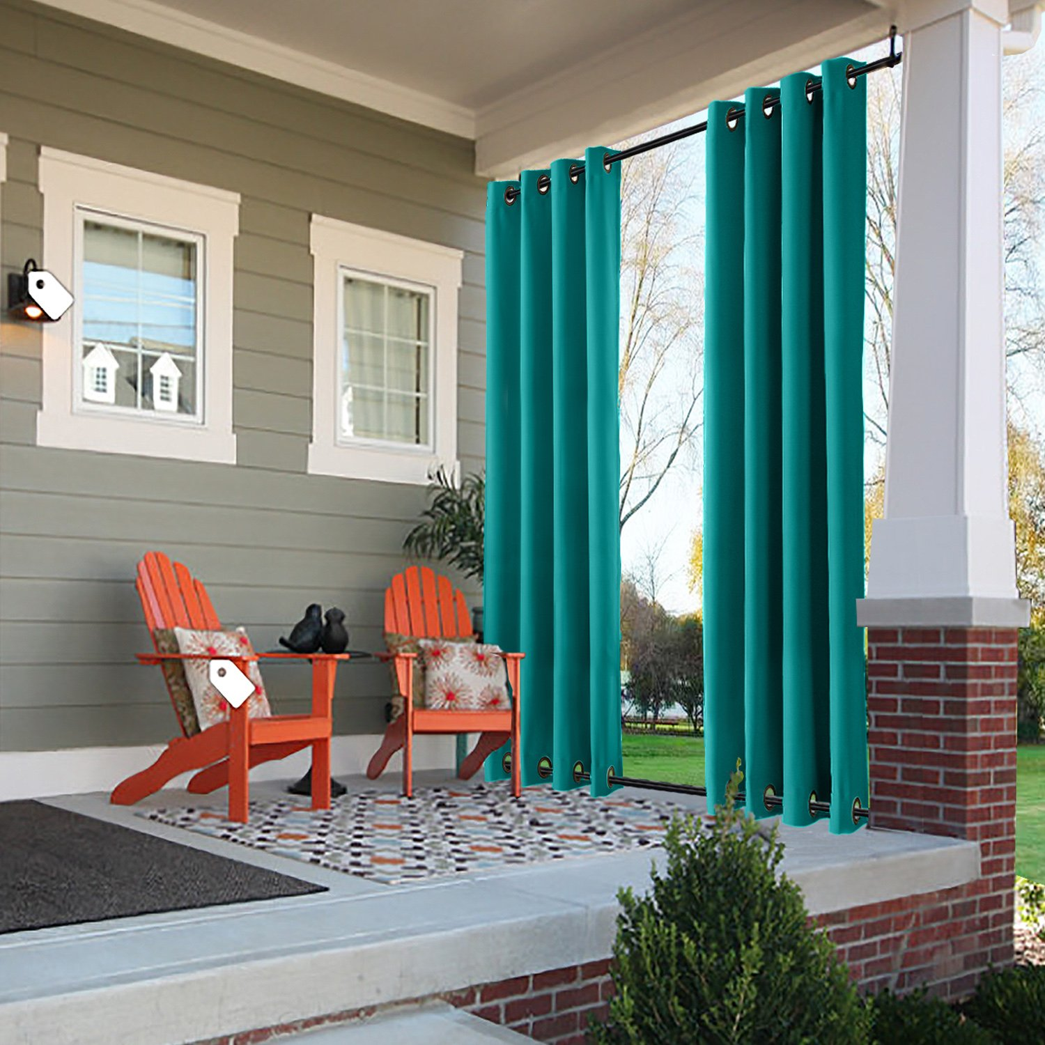 ChadMade Windproof Outdoor Curtain with Top Bottom Grommet Turquoise 150'' W x 102'' L, Waterproof and Mildew Resistant Patio Cabana Porch Gazebo Panel Drapery (1 Panel)