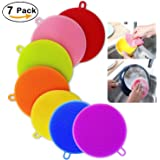Silicone Dish Washing Brush,Food Grade Scrubber BPA Free,Multipurpose Kitchen Cleaning Sponges For Pot, Pan, Fruit and Vegetables (7 Pack),Lideemo