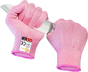 EVRIDWEAR Cut Resistant Gloves, Food Grade Level 5 Safety Protection Kitchen Cuts Gloves For cutting, Chopping, Fish Fillet, Mandolin Slicing and Yard-Work (Small, Pink)