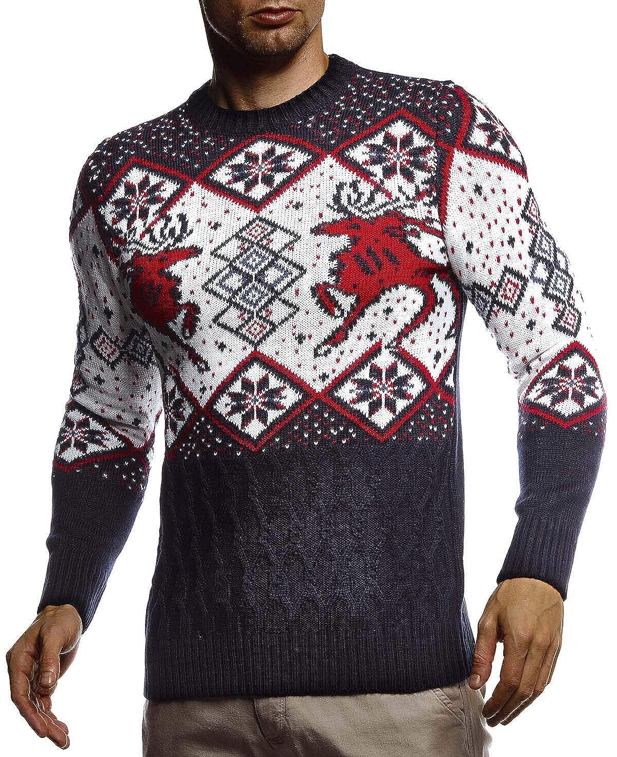 Invernale per Natale Slim Fit Modello Norvegese Leif Nelson LN20761 Collo Rotondo Maglione da Uomo in Maglia Norvegese con Collo Rotondo Inverno