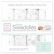 SwaddleDesigns Cotton Muslin Swaddle Blankets, Set of 4, Goodnight Starshine (Parents' Picks Award Winner)