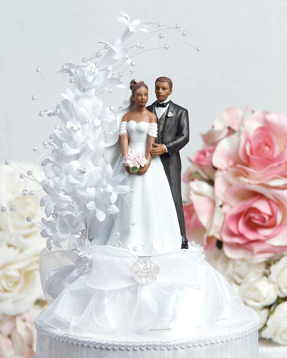 African American Wedding.Wedding Collectibles Pearl Side Arch Classic African American Cake Topper