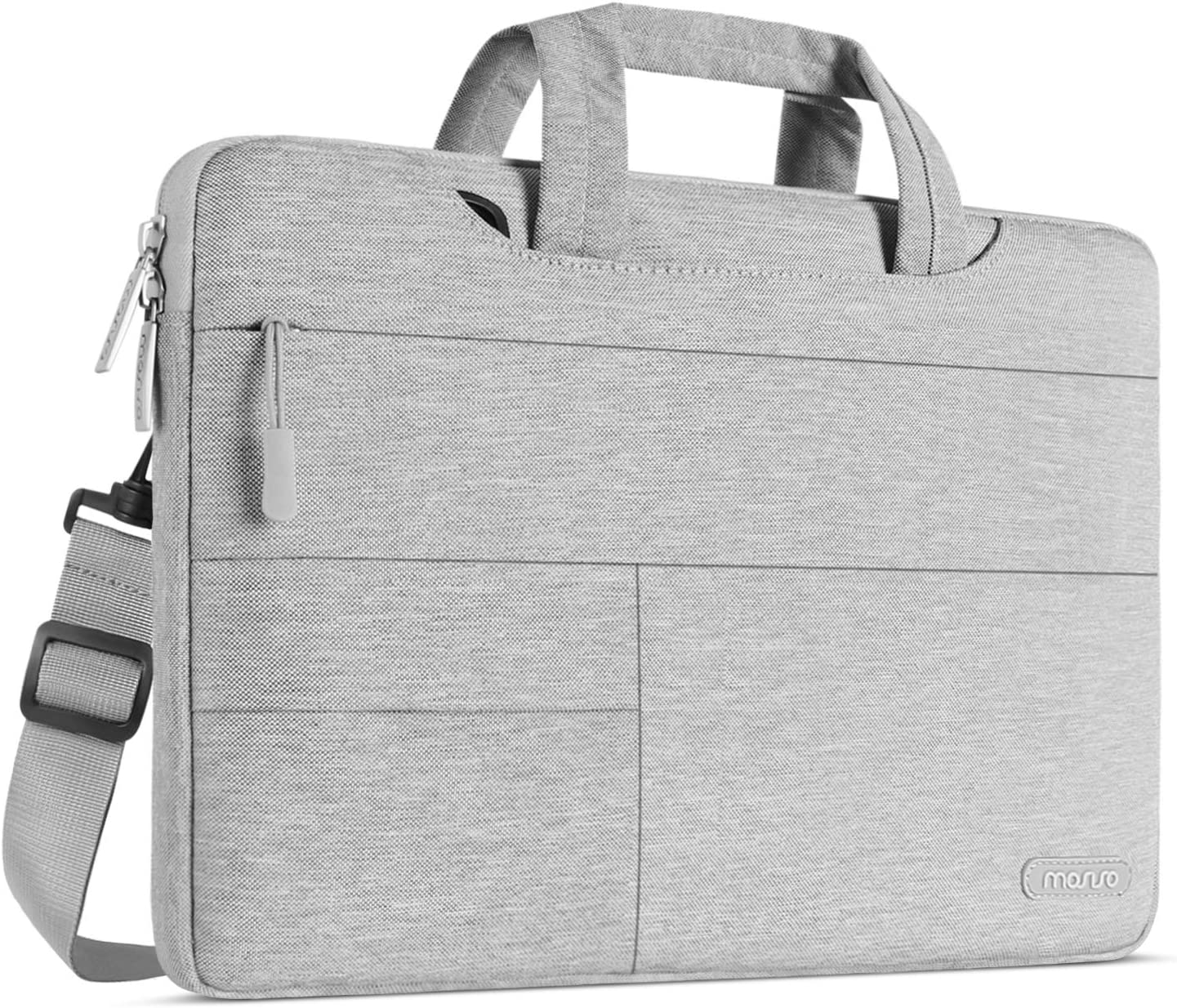MOSISO Laptop Shoulder Bag Compatible with MacBook Pro 16 inch, 15 15.4 15.6 inch Dell Lenovo HP Asus Acer Samsung Sony Chromebook, Polyester Briefcase Sleeve with Front Storage Pockets, Gray