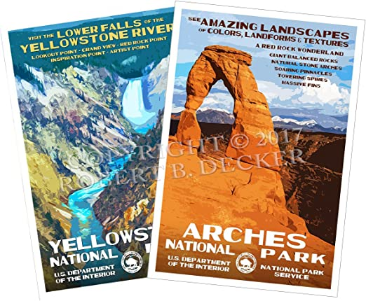 Amazon Com National Park Posters 2 Pack Original Artwork 13 X 19 By Rob Decker Wpa Style Posters Prints