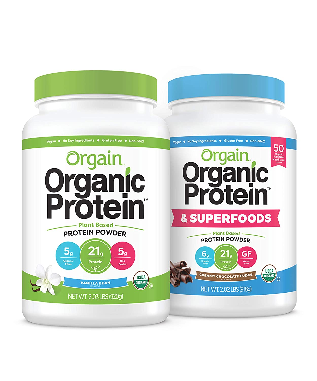 Orgain Bundle - Vanilla Protein Powder and Chocolate Protein & Superfoods Powder - Vegan, Made without Dairy, Gluten and Soy, Non-GMO