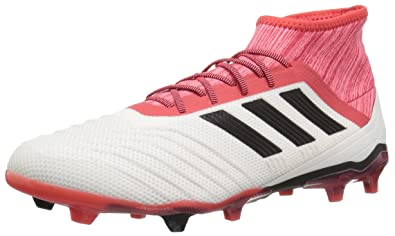 various colors b12f2 4e253 adidas Predator 18.2 FG Soccer Shoe, White Core Black Real Coral, 6.5