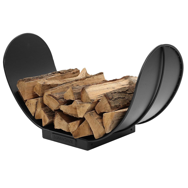 Sunnydaze 3-Foot Curved Firewood Log Rack, Indoor or Outdoor Fireplace Wood Storage Holder, Black Steel