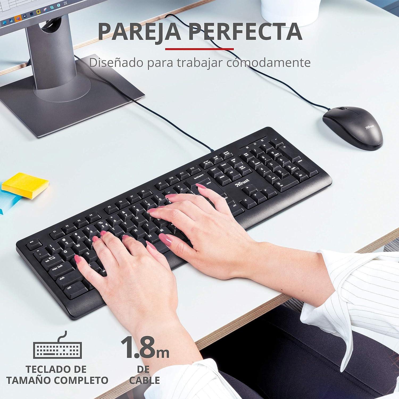 Trust Taro Pack Teclado y Ratón con Cable - Disposición QWERTY Español, Cable de 1.8m, Conexión USB, Teclado Resistente a los Vertidos, Windows, Mac, ...