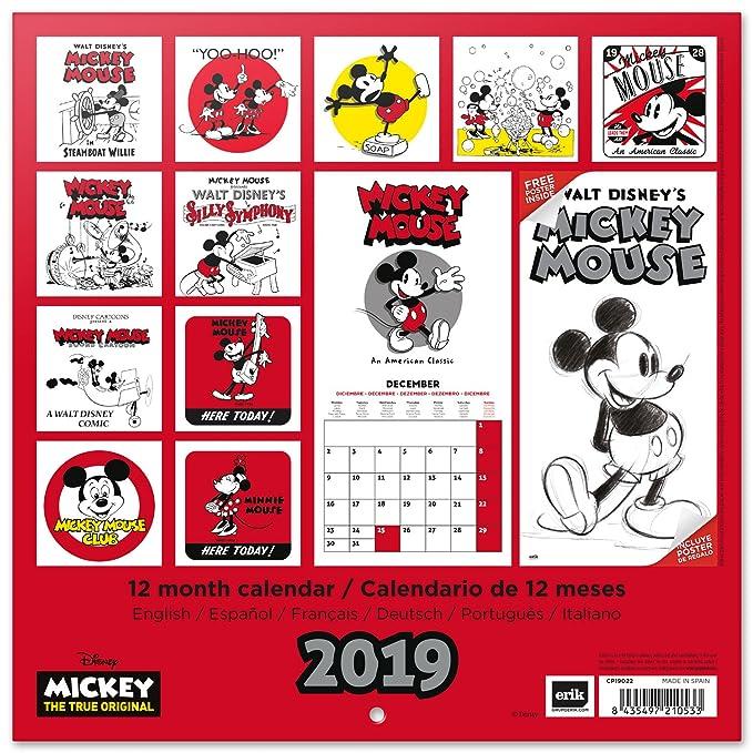 Calendario 2019 English.Grupo Erik Editores Cp19022 Calendar 2019 Disney Mickey 90 Anniversary 30 X 30 Cm