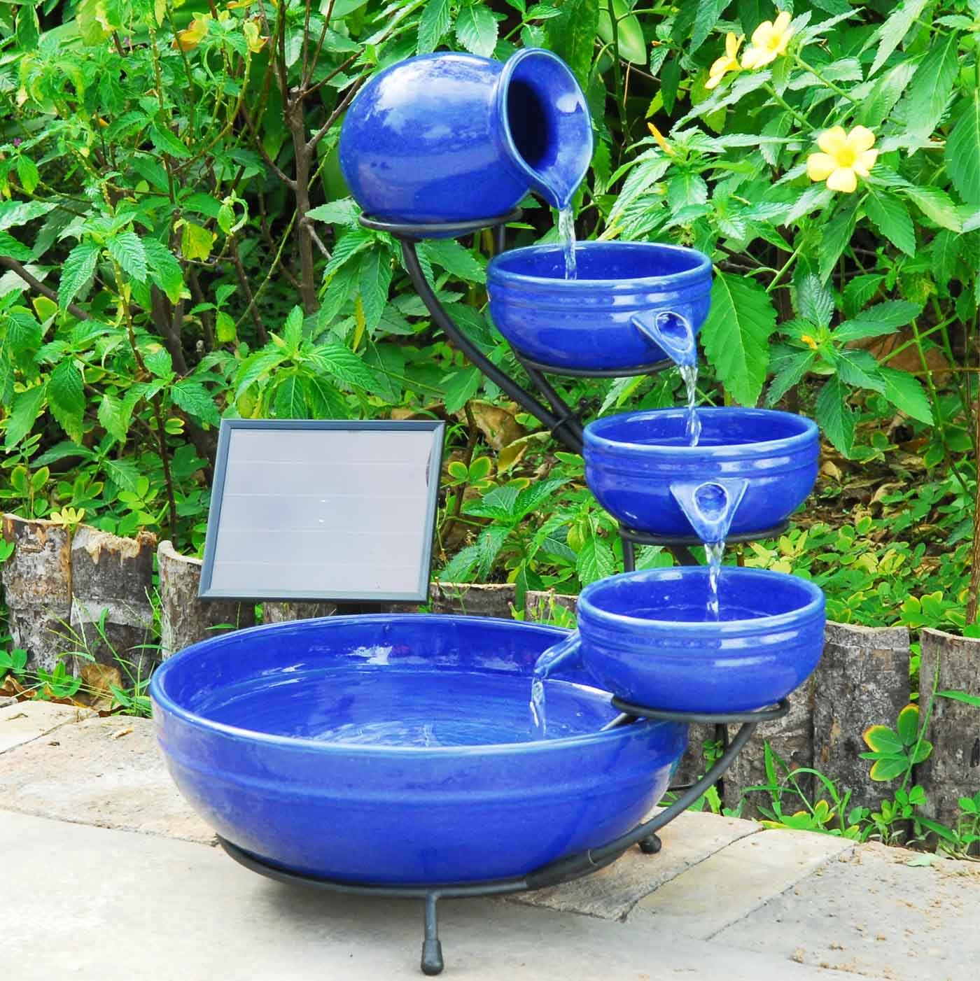 Sunny fountains P 004 C Solar Cascade Fountain Ceramic Blue Home 20043R01