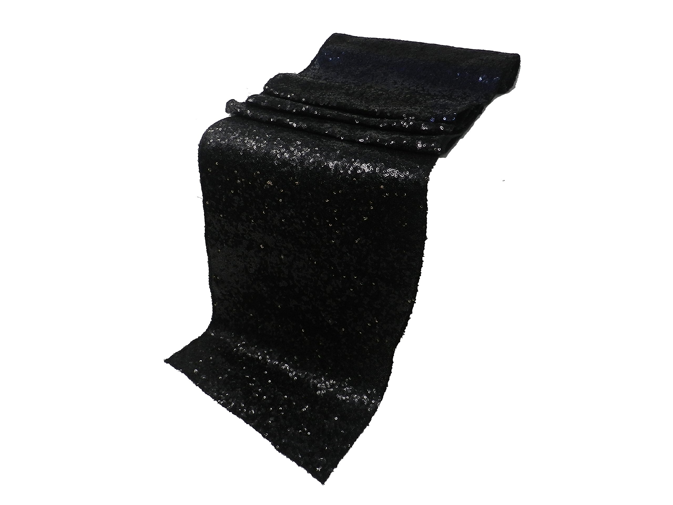 ELINA'S PACK OF10 Wedding 13 x 108 inch Sequin Table Runner Wedding Banquet Decoration (10, BLACK)