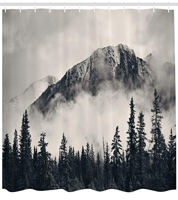 Ambesonne National Parks Home Decor Shower Curtain by, Canadian Smokey Mountain Cliff Outdoor Idyllic Photo Art, Fabric Bathroom Decor Set with Hooks, 70 Inches, Black and White