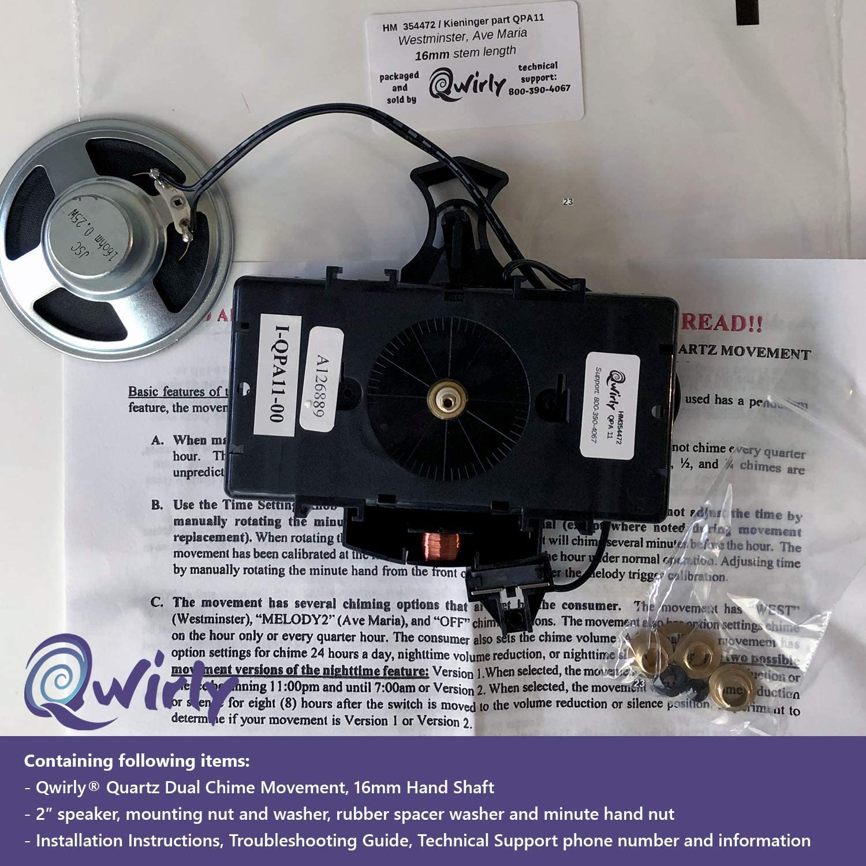 """Howard Miller 354471 Kieninger 2 Chime 1//2/"""" Shaft 15 mm Battery Clock Movement"""