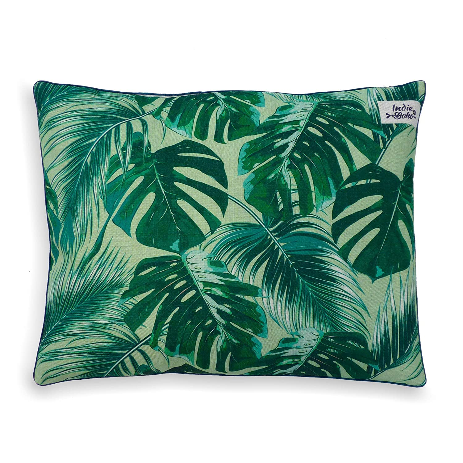 Indie Boho Pets Luxury Designer Dog Bed with Removable and Washable Cover in Green Tropical Leaves Design