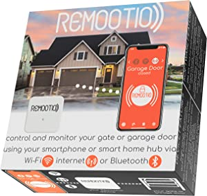 Remootio 2 WiFi and Bluetooth Smart Garage Door Opener with iOS and Android App, Amazon Alexa, Google Home, SmartThings, Siri Shortcuts. with Sensor and Power Adapter.