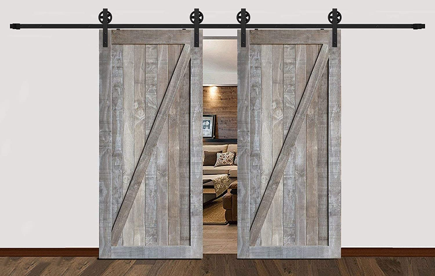 8FT/244CM Big Black Wheel Design Hangers Double Barn Door Suspension System Sliding Barn Door Track Hardware Kit Billion Hardware