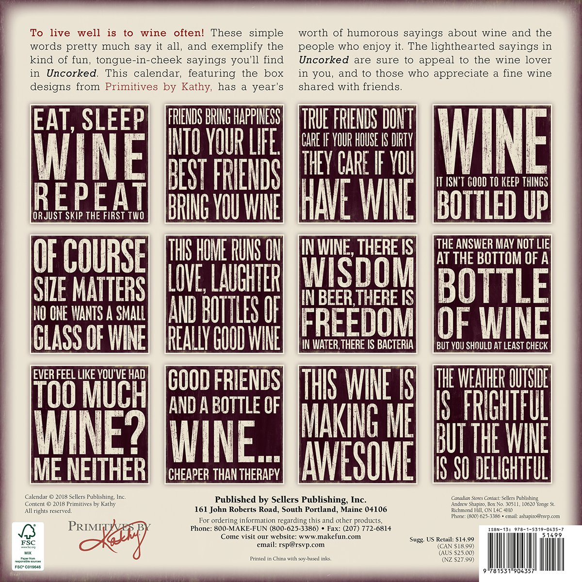 Uncorked Wine & Words - Primitives by Kathy 2019 Wall Calendar: Sellers  Publishing: 0764453004359: Amazon.com: Books