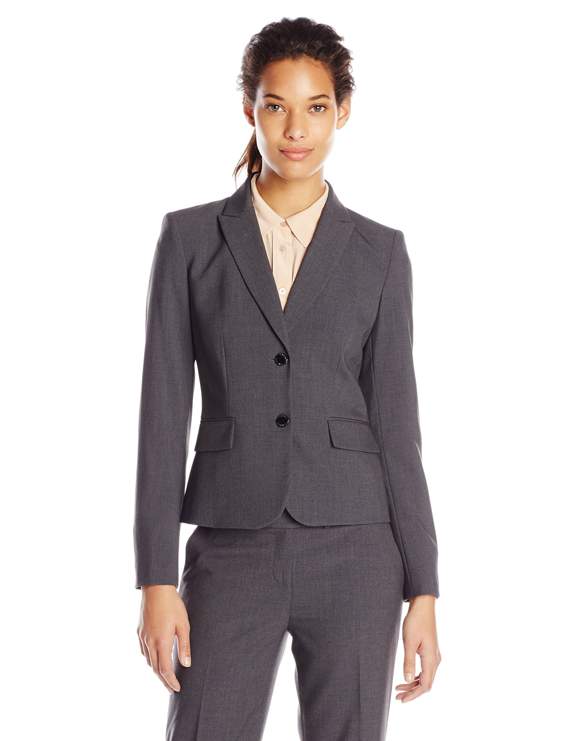 Calvin Klein Women's 2 Button Suit Jacket, Charcoal, 4
