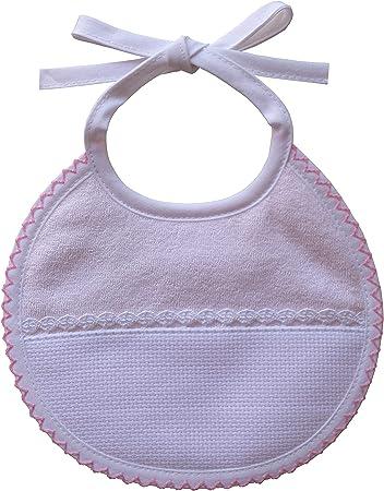 Babero redondo de rizo de color con inserto de encaje y tela aida blanca de 55 agujeros,Babero niña
