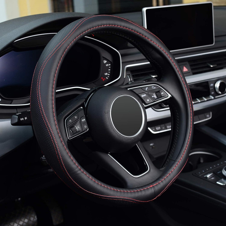 KAFEEK Steering Wheel Cover, Universal 15 inch, Microfiber Leather, Anti-Slip, Odorless, Red Lines
