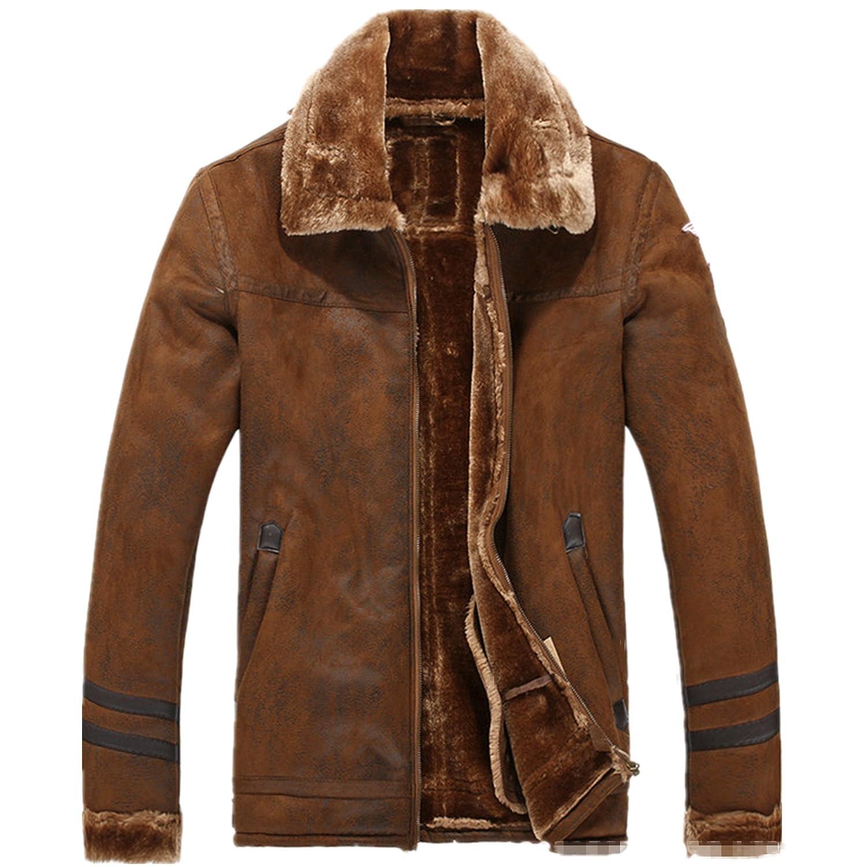 Allonly Men's Vintage Sheepskin Jacket Fur Leather Jacket Cashmere ...