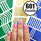 601 Reusable Nail Art Stencils Vinyl - 16 Different Shapes: Chevrons,Tribal,French Tip & More Adhesives Guides Patterns Designs in 3 Sheets Supplies Kit Stickers Tape foil decals Craft Perfect Gifts