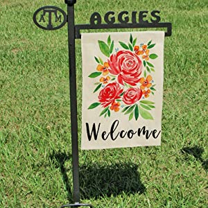 DOLOPL Garden Flags Summer Welcome Garden Flag 12.5x18 Inch Double Sided Decorative Watercolor Peonies Seasonal Small Yard House Garden Flag for Summer Outdoor Indoor Decoration