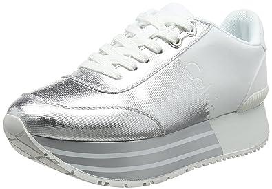 Sneaker Jeans Calvin Damen Carlita Klein Metal Canvasflocking HWE29IDYe