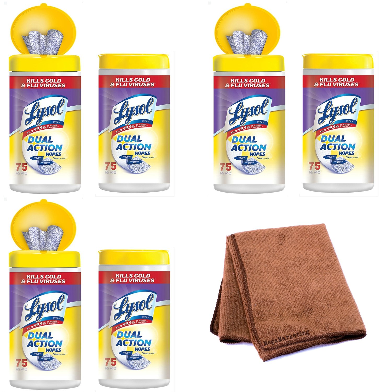 Lysol Dual Action Disinfecting Wipes w. Scrubbing Texture, 6-Pack, (450 Total Count) with Cleaning Cloth
