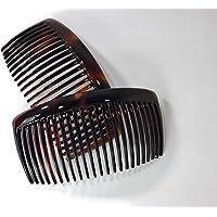 2 x kam med inlägg ca. 519H hårkam raka tänder 10 x 5 cm tillverkad i Frankrike