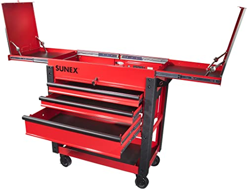 Sunex 8035XT 3 Drawer Service Cart with Sliding Top- Red