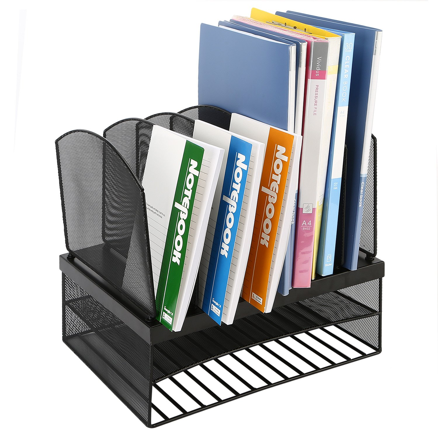 CRUODA Desktop Organizer File Rack with 6 Vertical/ 2 Horizontal Sections, Black Mesh Metal Office Desk Shelf, for Documents, Magazines, Notebooks