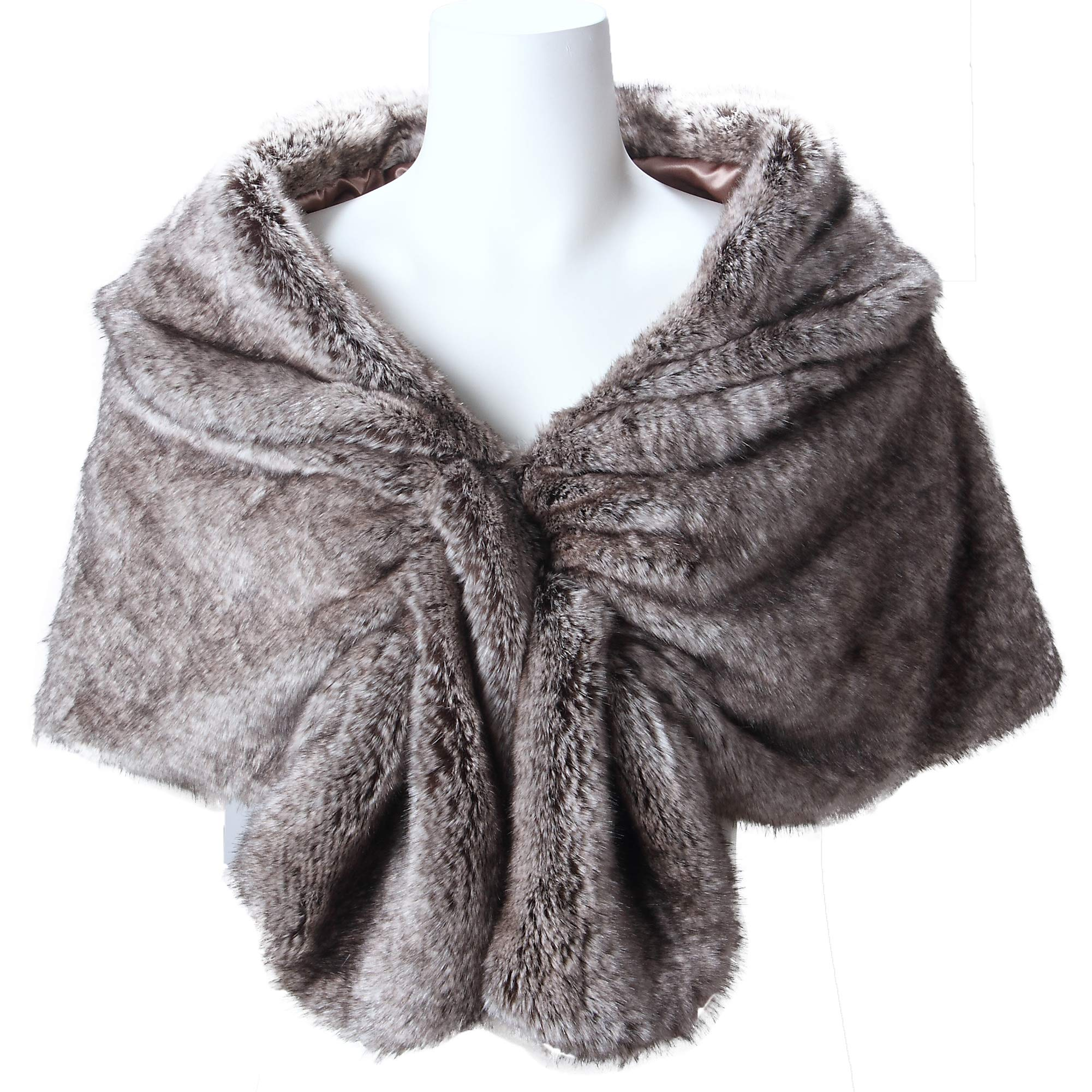 Caracilia Elegant Bridal Wedding Faux Fur Shawl Stole Wrap Shrug CA95 , Rabbit Fur Grey , Large by Caracilia (Image #3)