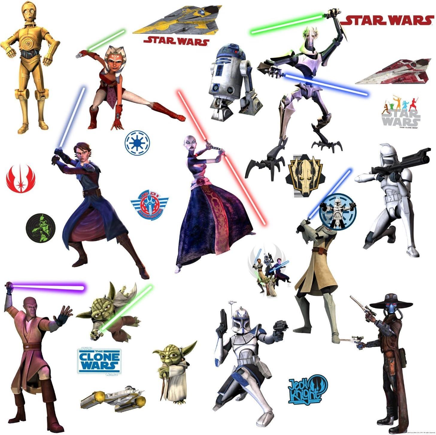 Star Wars Movie - The Clone Wars Wall Decals Stickers - C-3PO, Yoda, Obi-Wan, Mace Windu, Anakin Skywalker, Ahsoka Tano, R2D2, Clone Trooper Soldier, EP VII Storm Trooper, General Grievous