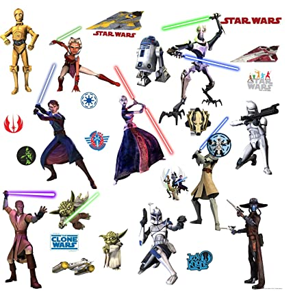 Star wars movie the clone wars wall decals stickers c 3po yoda