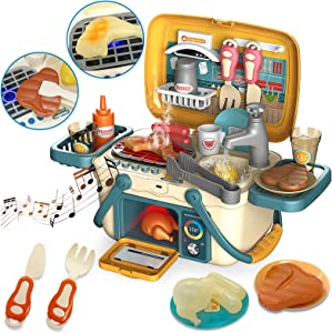 Nobie vivid Toy Kitchen, Kitchen Playset with Sounds and Lights, 30pcs Simulation Props, Color-changing Food Accessories, Faucet with Running Water, Play Sink, Oven, Portable Play Kitchen for Toddlers