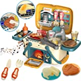 Nobie vivid Toy Kitchen, Kitchen Playset with Sounds and Lights, 30pcs Simulation Props, Color-changing Food Accessories…