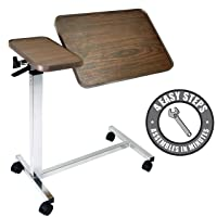 Vaunn Medical Adjustable Tilt Overbed Bedside Table with Wheels for Hospital and...