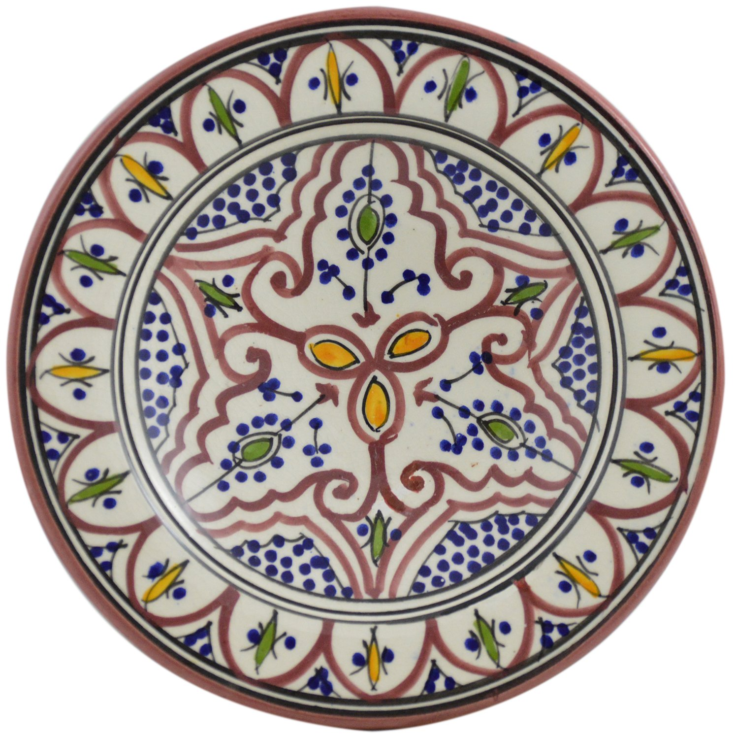 Ceramic Plates Moroccan Handmade Appetizer Tapas Serving Decorative 8 inches Round