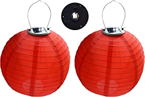 "2PCS/lot 12inch 12"" multicolor Solar powered 1W 5050SMD LED Light Bulbs waterproof Chinese Nylon Fabric lantern for Wedding Party home garden Decoration (Red)"